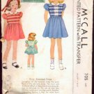 Girls Smocked Party Dress Vintage 30s Sewing Pattern McCall 705