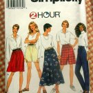 90s Skirt Shorts Vintage Sewing Pattern Simplicity 7247
