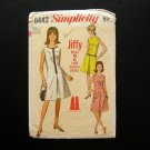 Women's Dress Vintage Sewing Pattern Simplicity 6443