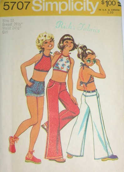Girl\'s Halter Crop Top, Shorts and Jeans Vintage Sewing Pattern ...