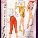 Simplicity 3435 Vintage Sewing Pattern 1960s Bermuda shorts, capri pants and shorts