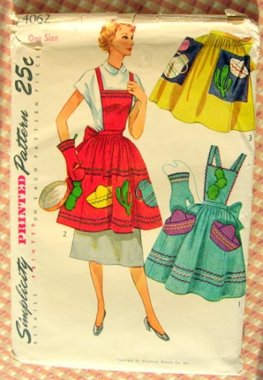 Simplicity 4062 Apron Vintage 50s Sewing Pattern Mexican Motif