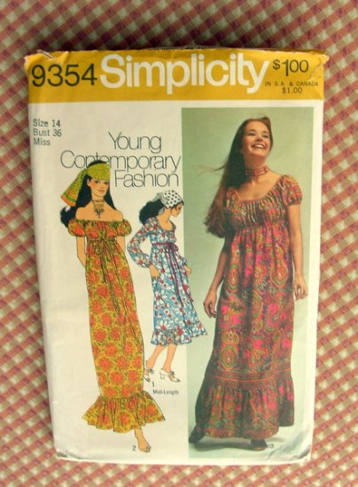 Maxi Peasant  Dress Simplicity 9354 Vintage 70s Sewing Pattern