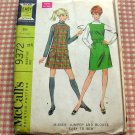 Mini Dress or Jumper  and Blouse 60s Vintage Sewing Pattern McCall's 9372