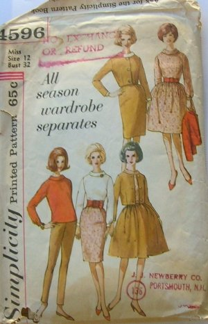 Mad Men Style Fall Fashions Vintage Sewing Pattern Simplicity 4596