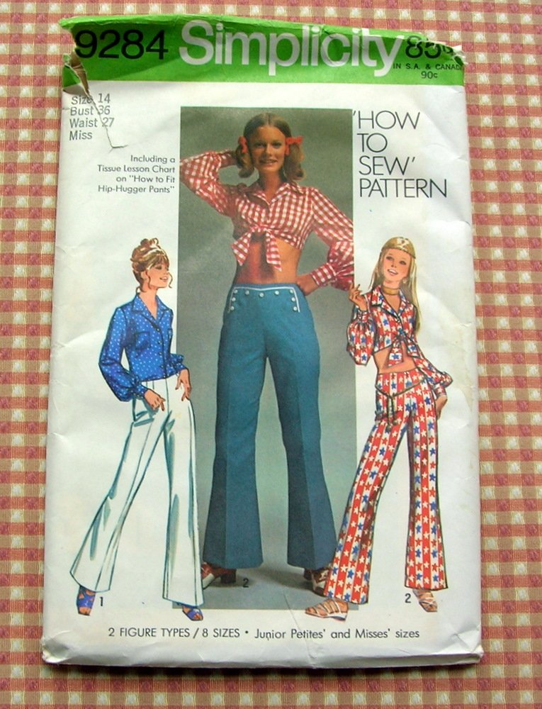 Bell Bottoms Pants Hippie Crop Top 70s Vintage Sewing Pattern