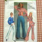 Bell Bottoms Pants Hippie Crop Top 70s Vintage Sewing Pattern Simplicity 9284
