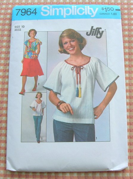 Skirt and Peasant Blouse 70s Sewing Pattern Simplicity 7964