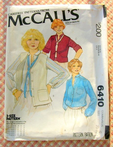 Vintage Sewing Pattern McCall's 6410 Misses' Blouse And Vests Sizes 20, 22, 24