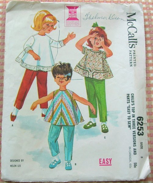 Girl's Top and Pants Vintage Sewing Pattern McCall's 6253