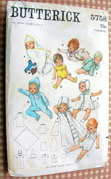 Baby Layette Vintage Sewing Pattern Butterick 5758