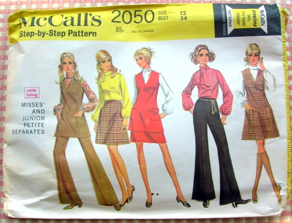 McCall's 2050 Vintage 60s Sewing Pattern Pants, Skirt, Blouse