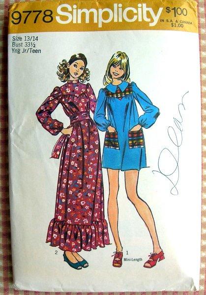 Maxi Dress or Mini Dress Vintage Sewing Pattern Simplicity 9778