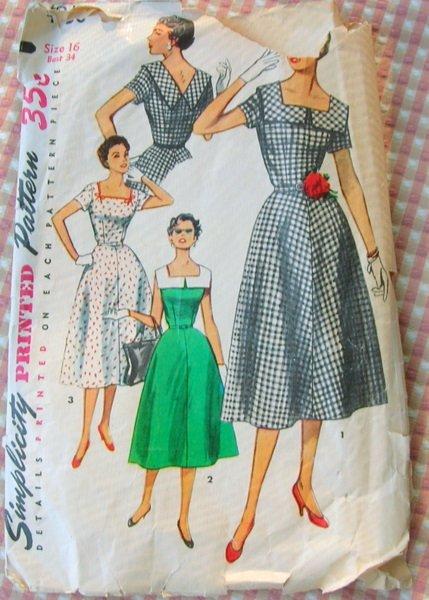 Fifties Midi Summer Dress Vintage Sewing Pattern Simplicity 4650
