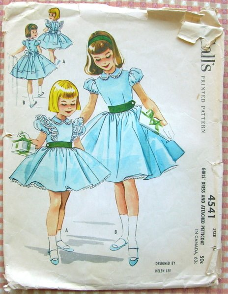 Girls Helen Lee Party Dress Vintage Sewing Pattern McCall's 4541