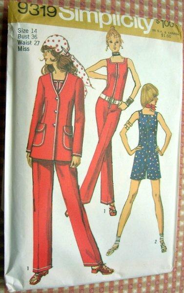 Seventies Jumpsuit Vintage Sewing Pattern Simplicity 9319
