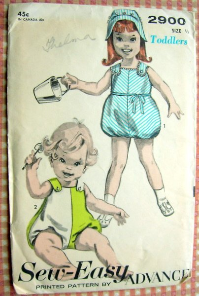 Toddler's Bubble Playsuit and Bonnet Vintage Sewing Pattern Advance 2900