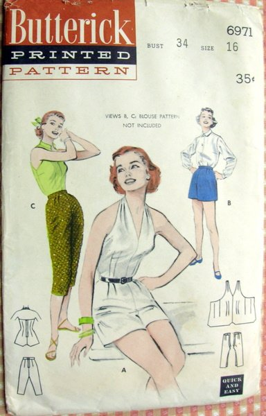 Misses shorts, pants and halter culottes Vintage sewing pattern Butterick 6971
