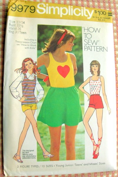 Simplicity 9979 Vintage Sewing Pattern Top, Mini-Skirt and Booty Shorts