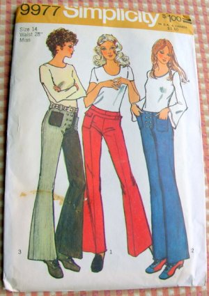 Vintage 70s Sewing Pattern Bell Bottom Jeans Simplicity 9977