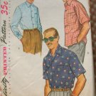 50s vintage sewing pattern mens shirt Large Simplicity 4981