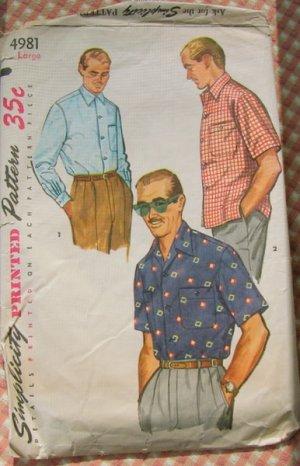 50s vintage sewing pattern mens shirt Large Simplicity 4981