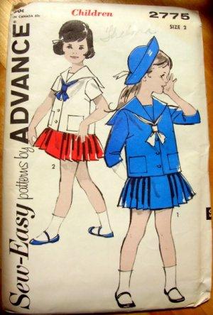 Sailor Suit Vintage Sewing Pattern Advance 2775 Size 2