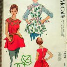 Fifties Bowed Cobblers Apron with Potholders Vintage Sewing Pattern McCalls 1953