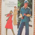 Misses 70s Dress, Scarf, Hat  Vintage Sewing Pattern Simplicity 7297