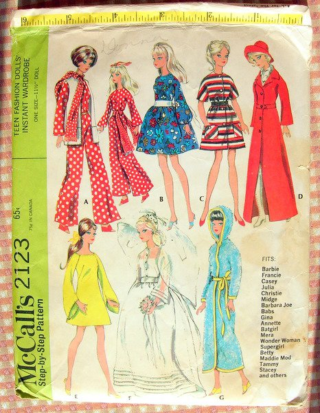 Barbie Doll Clothes 60s Vintage Sewing Pattern McCalls 2123