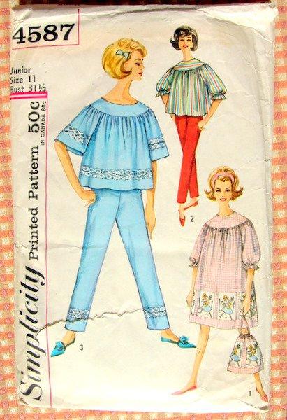 Vintage Sewing Pattern Nightgown, Pajamas, Laundry Bag Simplicity 4587