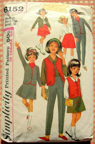 Girl's School Uniform for Chubbies Simplicity 6152 Vintage Sewing Pattern