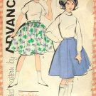 Girl''s Full Skirts Vintage Sixties Sewing Pattern Advance 9836