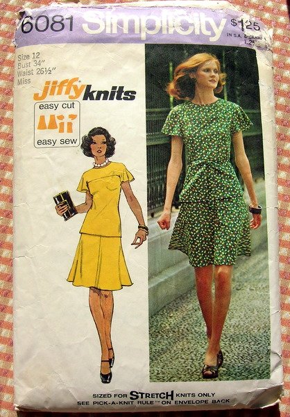 Knit Top and Skirt  70s  Vintage Pattern Simplicity 6081
