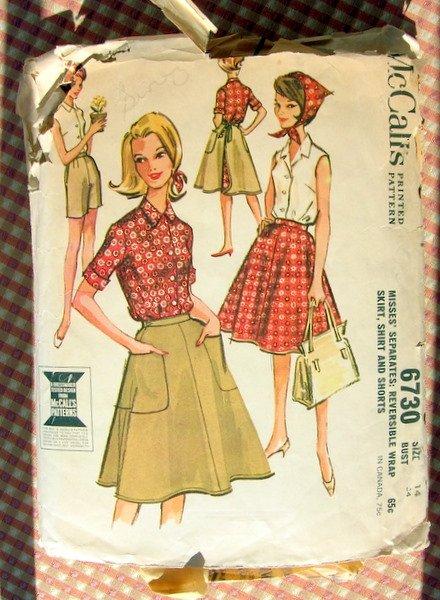 Reversible Wrap Skirt  60s Vintage Sewing Pattern McCalls 6730