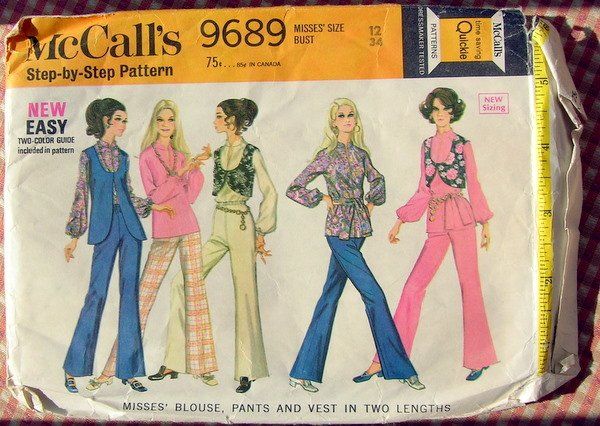 Mod Blouse, Pants and Vests 60s Vintage Sewing Pattern McCalls 9689