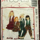 Girl's Hammer Pants, Ruffled Skirt, Vest and Jacket Vintage Sewing Pattern McCalls 5061