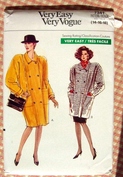 80s Ladies Winter Coat With Shoulder Pads Vintage Sewing Pattern Vogue 7341