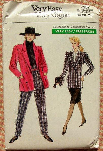 80s Jacket, Skirt, High Waisted Peg Leg Pants Vintage Vogue Sewing Pattern 7287