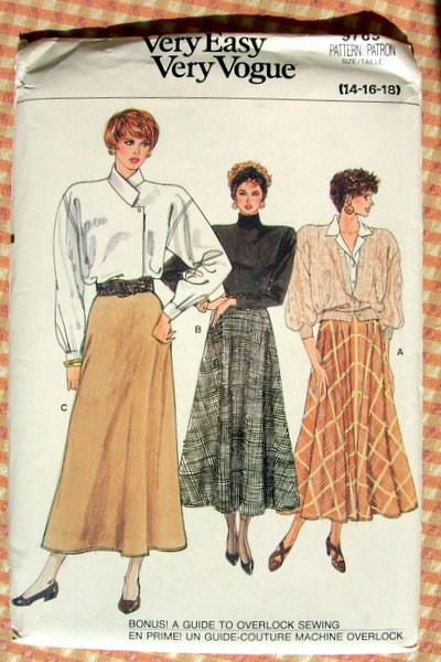 80s Maxi Skirt, Vintage Vogue Sewing Pattern 9789