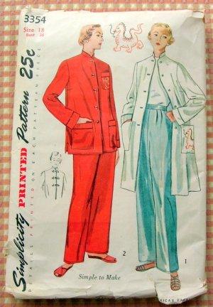 Mandarin Style Pajamas and Lounging Coat Vintage 50s Sewing Pattern Simplicity 3354