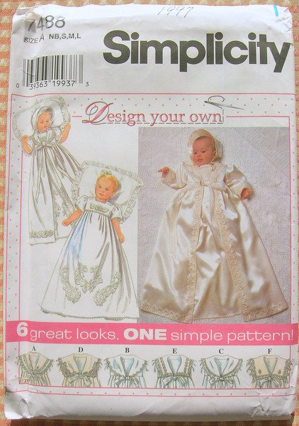 Christening Gown Vintage Sewing Pattern Simplicity 7488