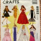 Barbie Doll Size Dresses Vintage 90s Sewing Pattern McCall's 8552