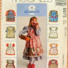 Girl's Dress and Pinafore  Sewing Pattern McCalls 8975