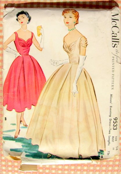Ball Gown Dress Mccall S 9533 Vintage 50s Sewing Pattern