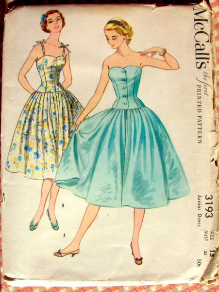 Corset Style Bodice Sun Dress Vintage 50s Sewing Pattern ...