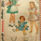 Tot's Pinafore Simplicity 1789 Vintage 40s Sewing Pattern