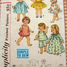 """15"""" Baby Doll Wardrobe Vintage 60s Sewing Pattern Simplicity 4839"""