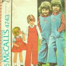 Brother and Sister Matching Shirts, Overalls McCall's 4743 Vintage Sewing Pattern