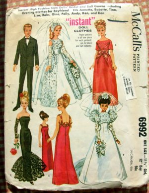 """Vintage 60s 11.5""""  Fashion Doll Clothes McCalls Sewing Pattern 6992"""